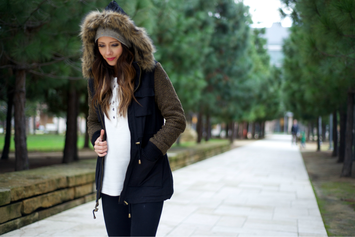 Fur black coat