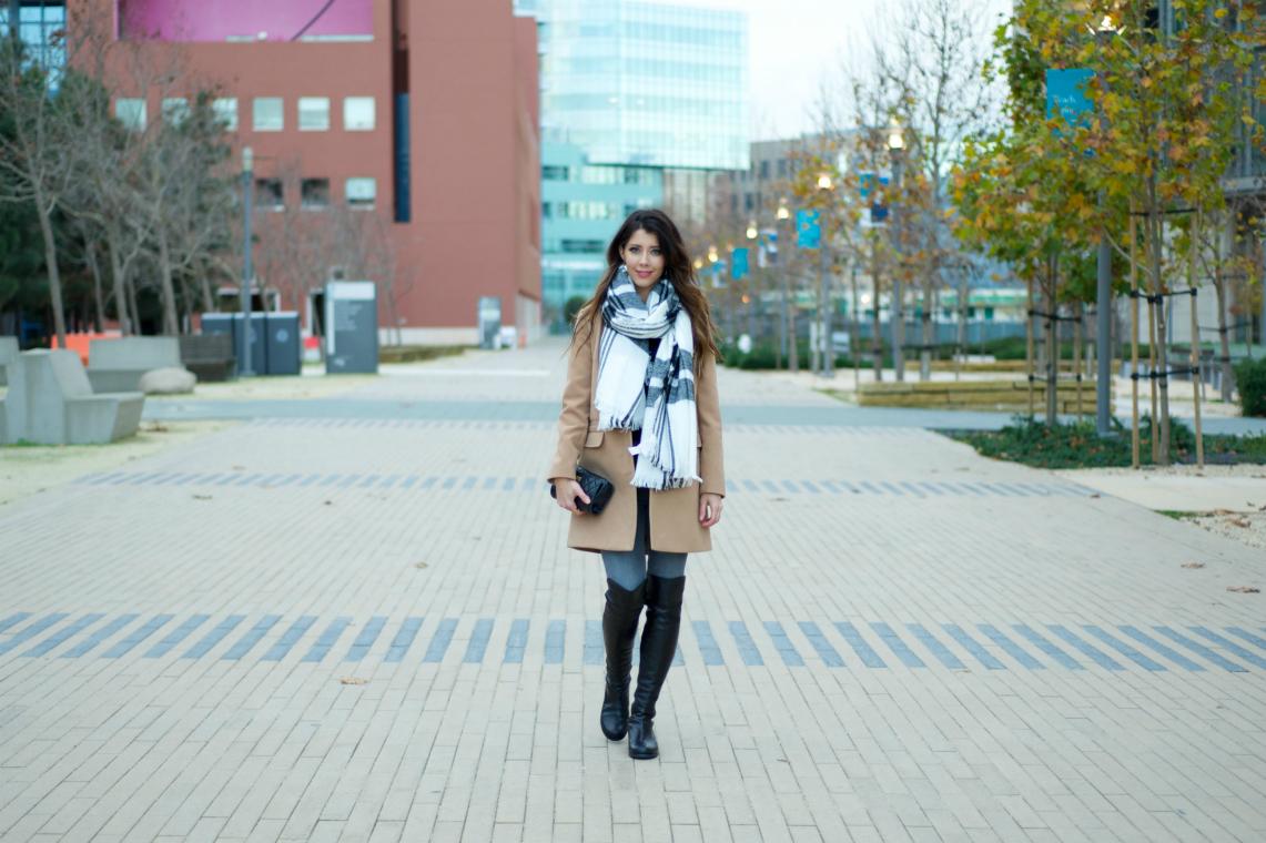 OTK Black Boots, Tan Coat