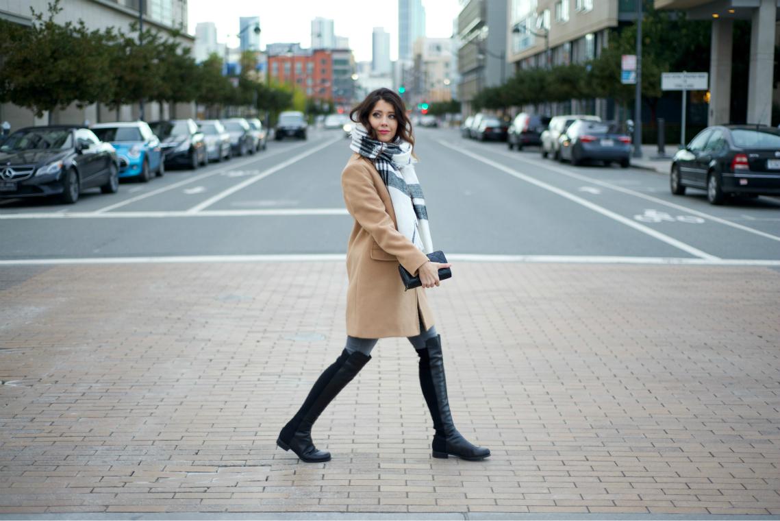 Tan coat, OTK boots