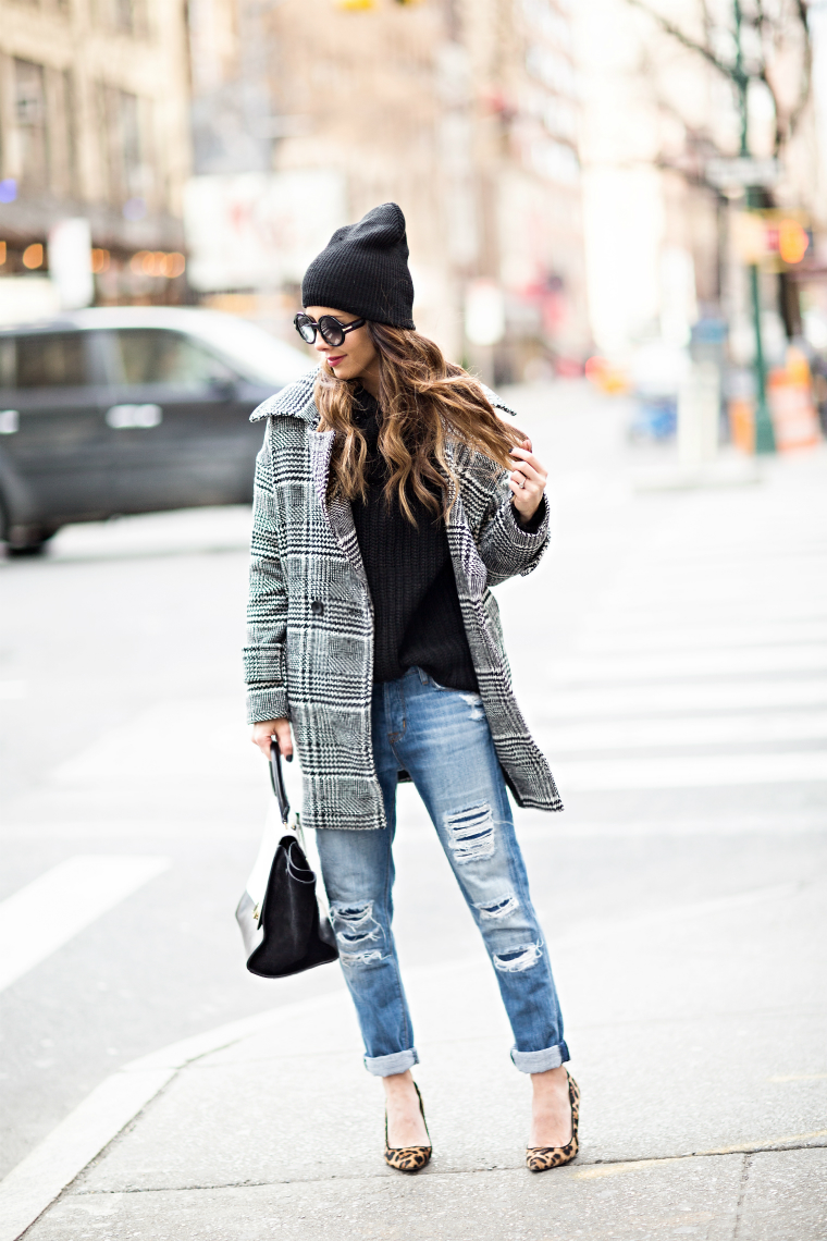 Black Sweater, Plaid Coat