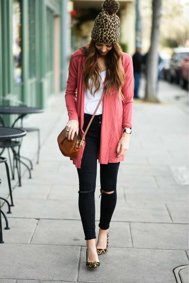 Coral Top, Black Skinnies