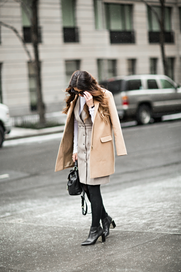 Grey Dress + Tan Coat