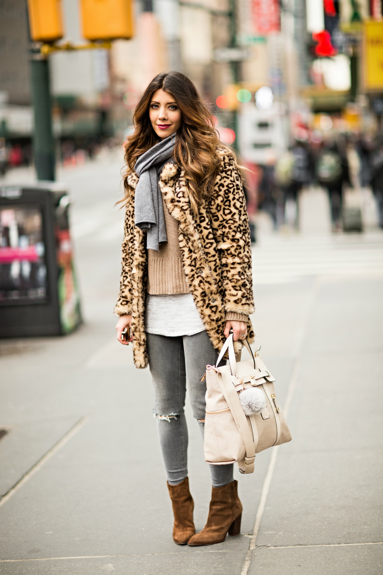 Grey Jeans + Leopard Coat