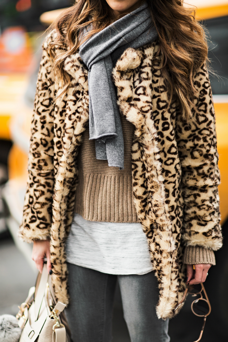 Grey Scarf. Leopard Coat