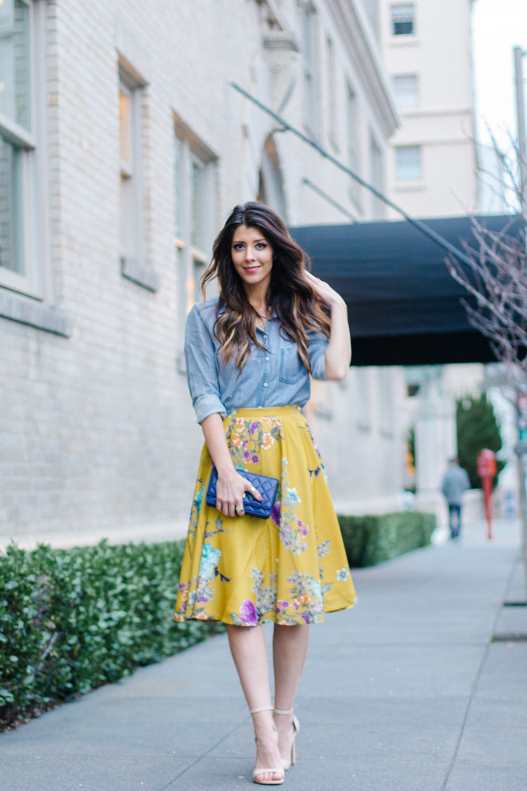 Midi Skirt, Chambray Top