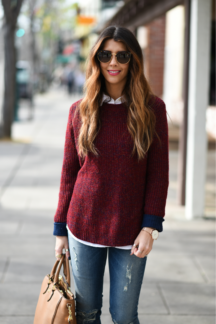 Red,Maroon Sweater