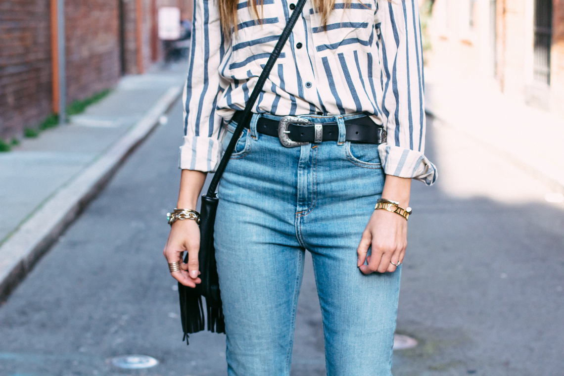 Black Belt + Striped top