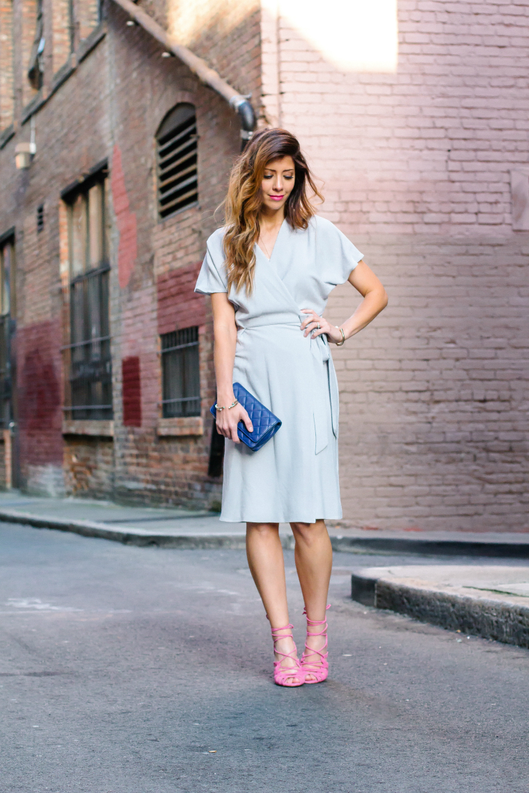 Wrap Dress + Pink Heels
