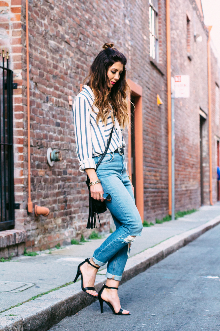 MOm Jeans + Striped Top