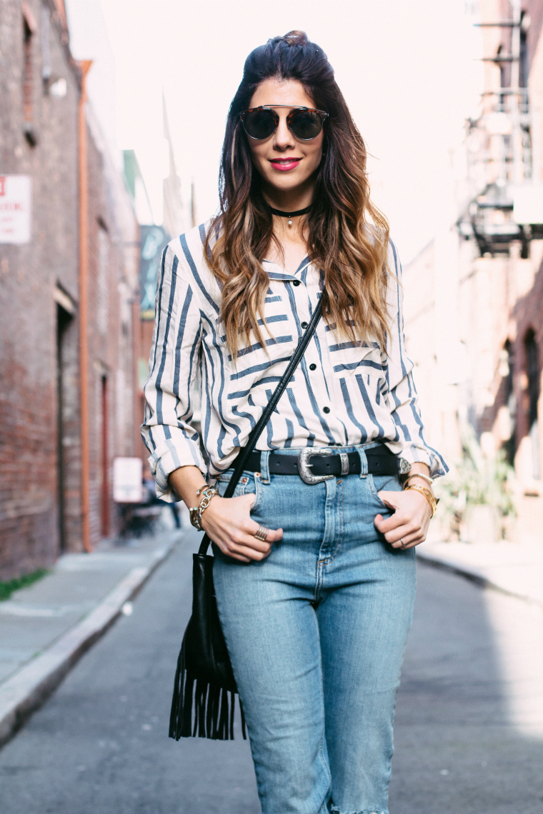 Striped Navy + Cream Top