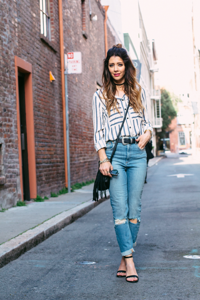 Striped Top + Distressed Mom Jeans