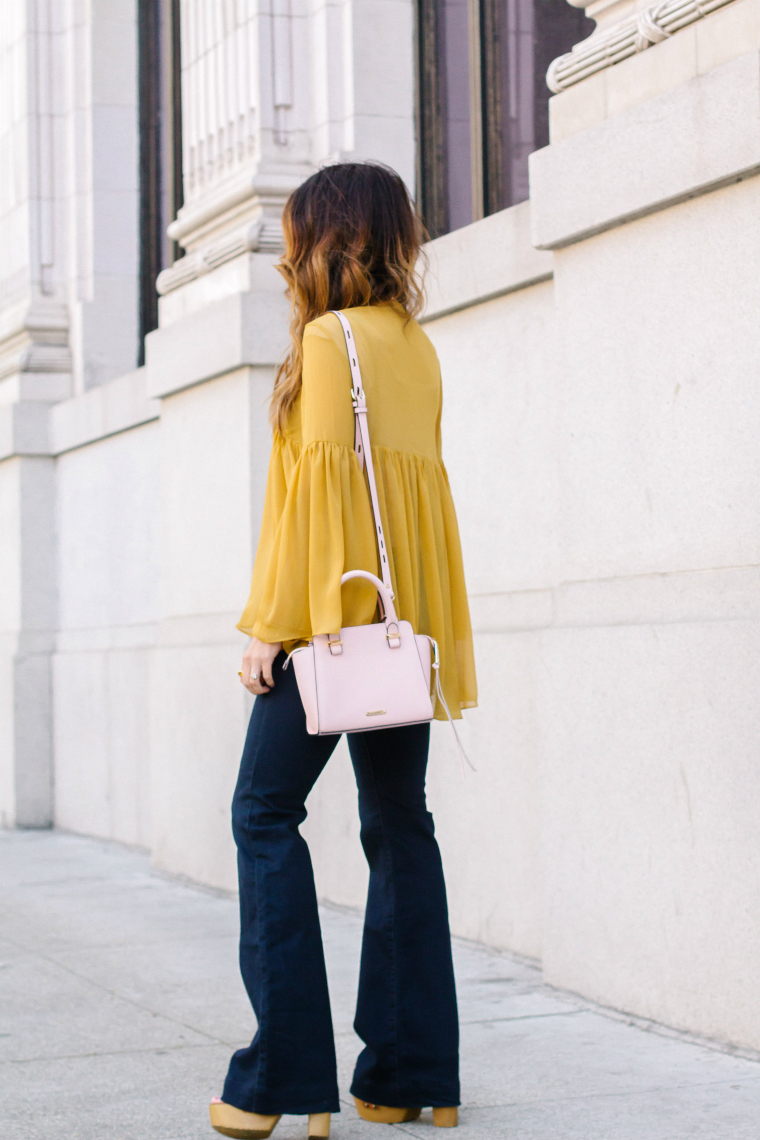 Yellow Top, Pale Pink Bag