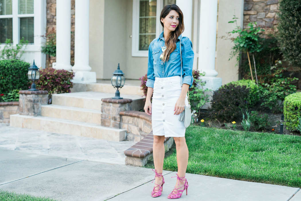 Denim Top, High Wasted Skirt
