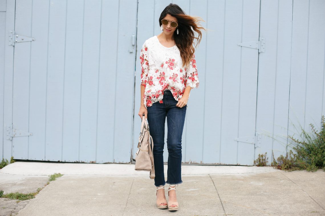 Floral Lace Top, Cropped Jeans, and Lace Up Wedges | The Girl in the Yellow Dress