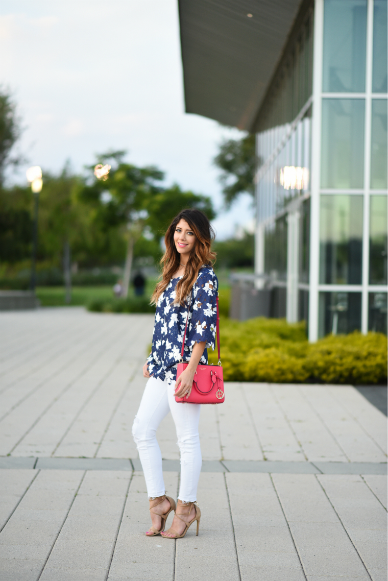 Lace top + White Jeans | The Girl in the Yellow Dress