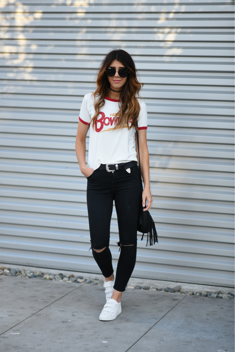 Graphic Tee, Skinny Black Jeans | The Girl in the Yellow Dress