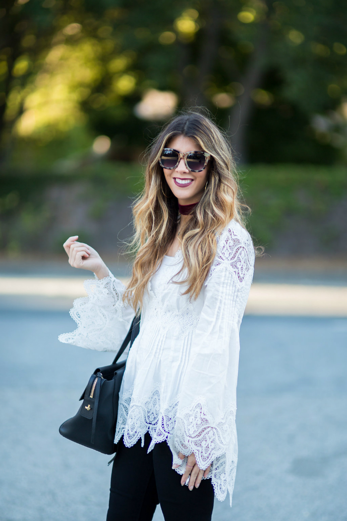 White Lace Top + Black Jeans | The Girl in the Yellow Dress