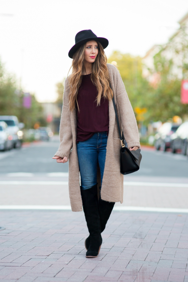 long-cardi-Long Cardi and OTK Boots for fall fashion