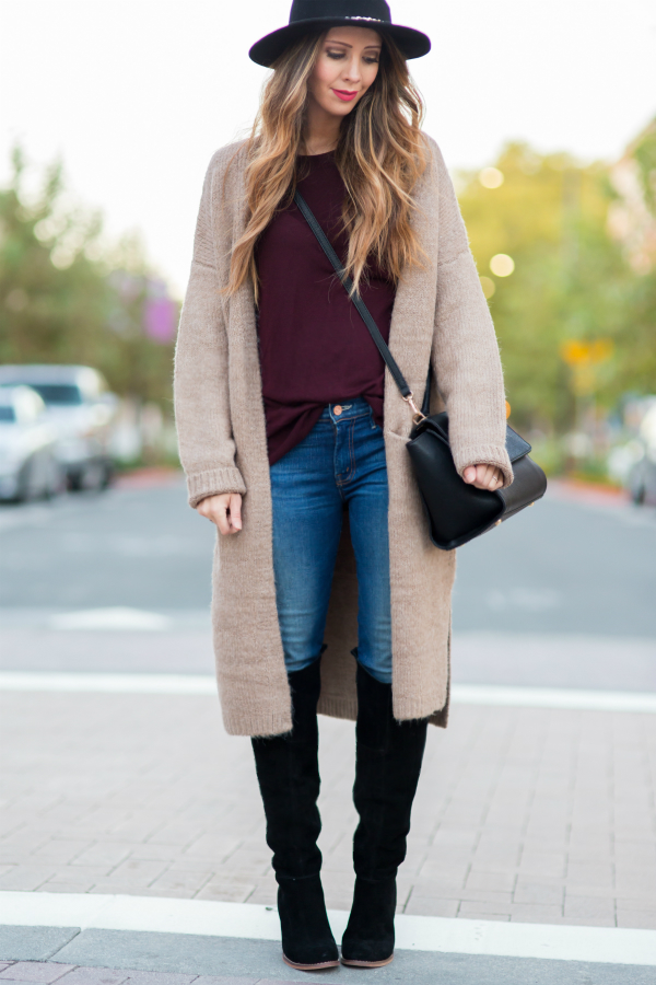Long Cardi and OTK Boots for fall fashion