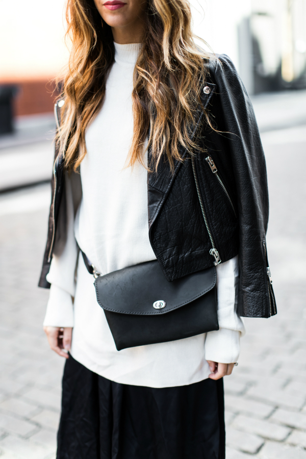 Leather Jacket + Waist Bag | The Girl in the Yellow Dress