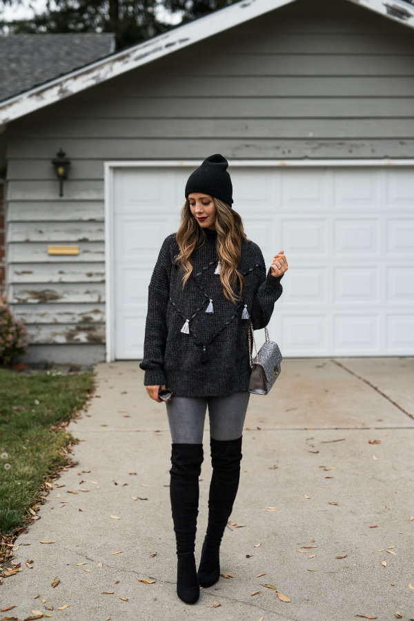 Oversized Sweater + OTK Boots. Winter Fashion