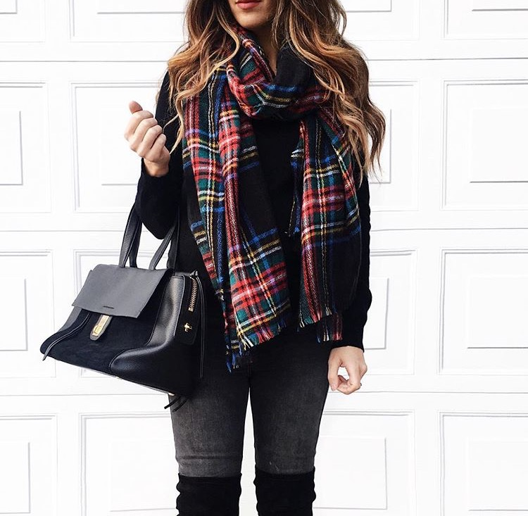 Plaid Scarf + Black Sweater