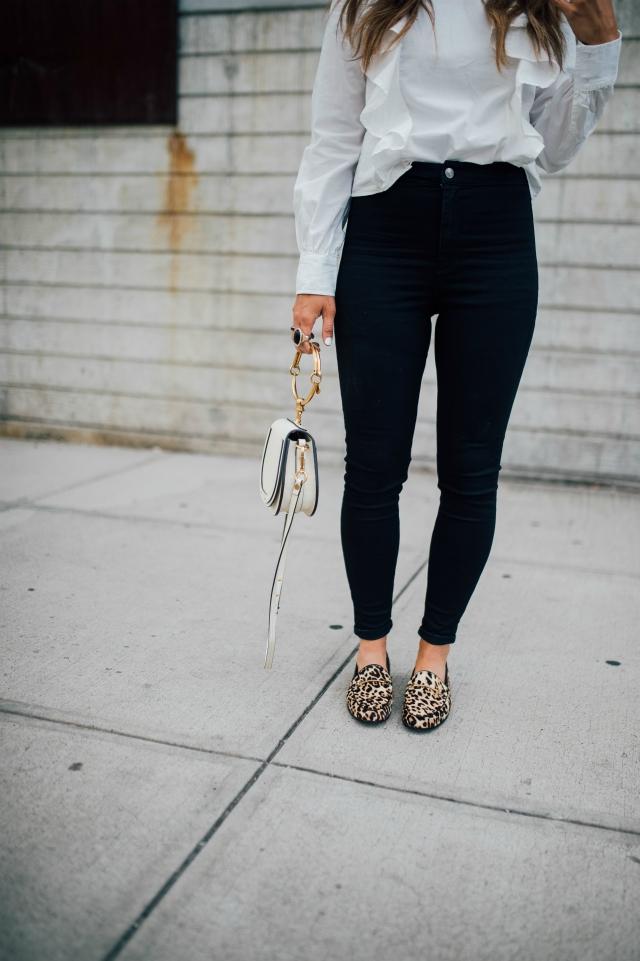 Nordstrom, Sam Edelman, White Ruffle Blouse, Black Topshop Skinny Jeans, Chloe Bag, Leopard Shoes