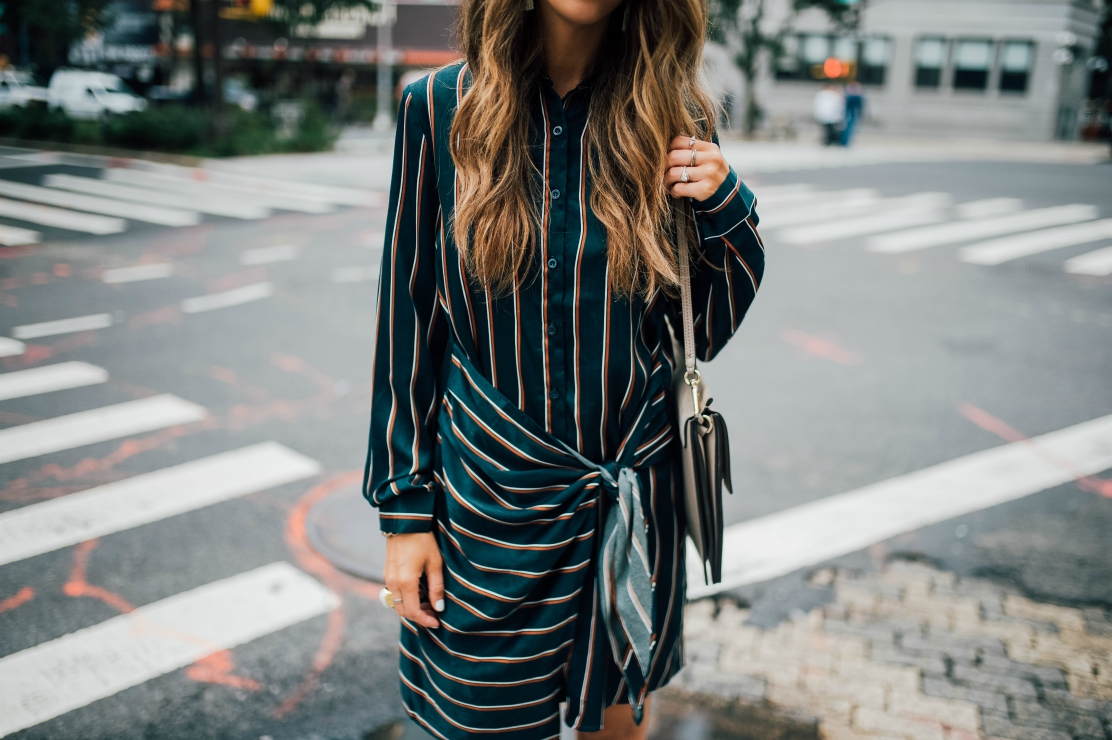 Shirt Dress, Nordstrom, White Heels, Chloe Bag, Striped Dress