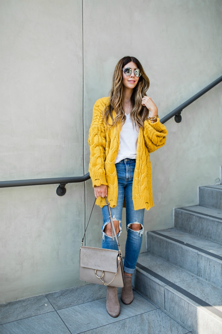 Fall Outfit, Yellow Cardigan, Distressed Skinny Jeans, Taupe Booties, Chicwish, Casual Fall Look