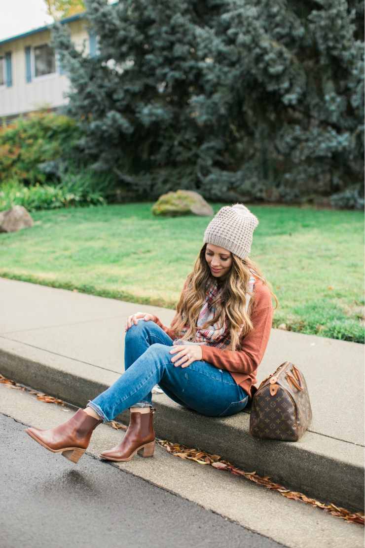 Plaid Scarf, Louis Vuitton Speedy, Rust Colored Sweater, Cream Beanie, Distressed Paige Jeans, Madewell Brown Leather Booties, Gift Guides