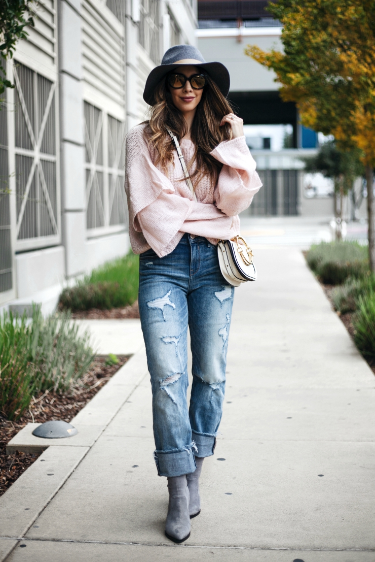 Chicwish ruffle sweater, Ruffle sweater, Distressed Boyfriend Jeans, Grey Sock Booties, Grey Hat, Chloe Nile Shoulder Bag