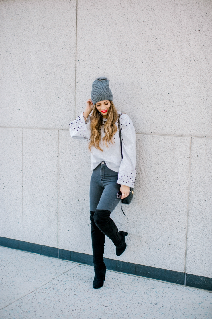 Pearl Sweater. OTK Boots, Grey Skinny Jeans, Nordstrom