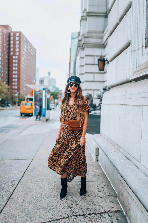 cde543ae2a2f5 Shopbop Leopard Print Dress styled for NYFW by popular San Francisco  fashion blogger